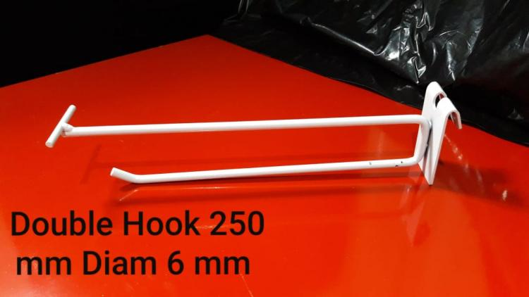DOUBLE HOOK Le 250 for MESH dia 6 mm WHITE