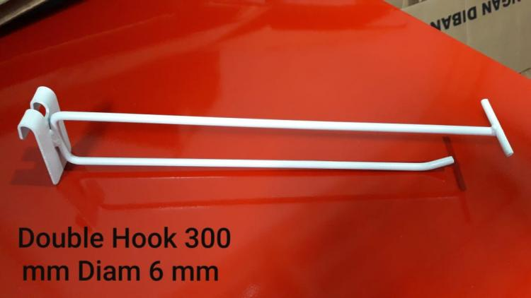 DOUBLE HOOK Le 300 for MESH dia 6 mm WHITE
